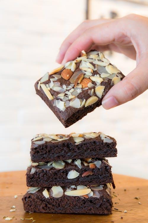 拿巧克力布朗尼蛋糕 的 免费素材照片