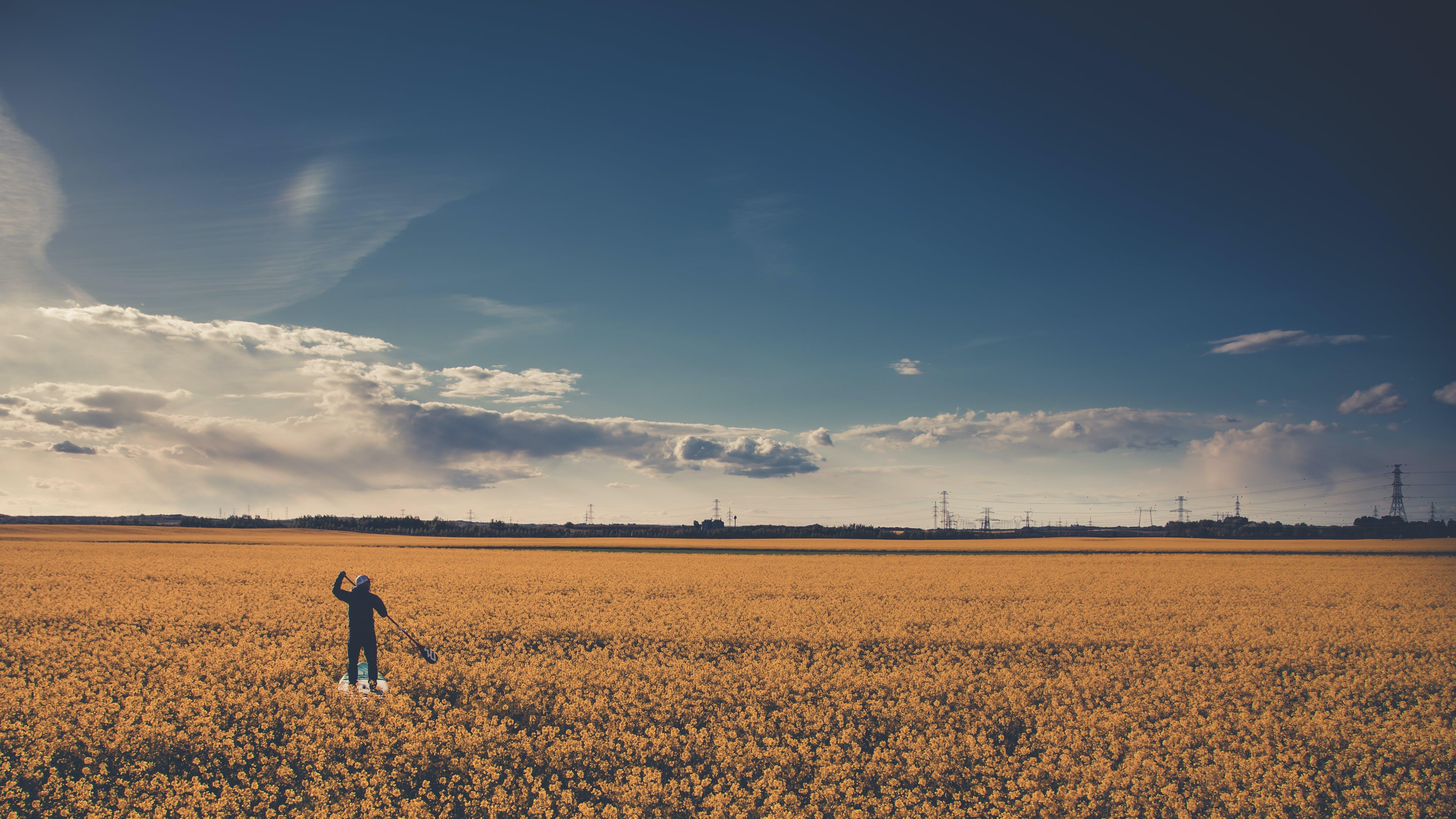 Man on Field Under Blue Cloudy Sky