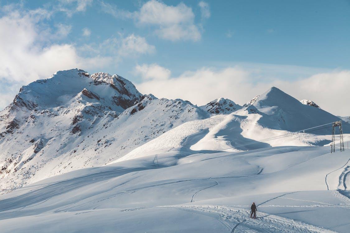 Person Walking On Snow Mountain