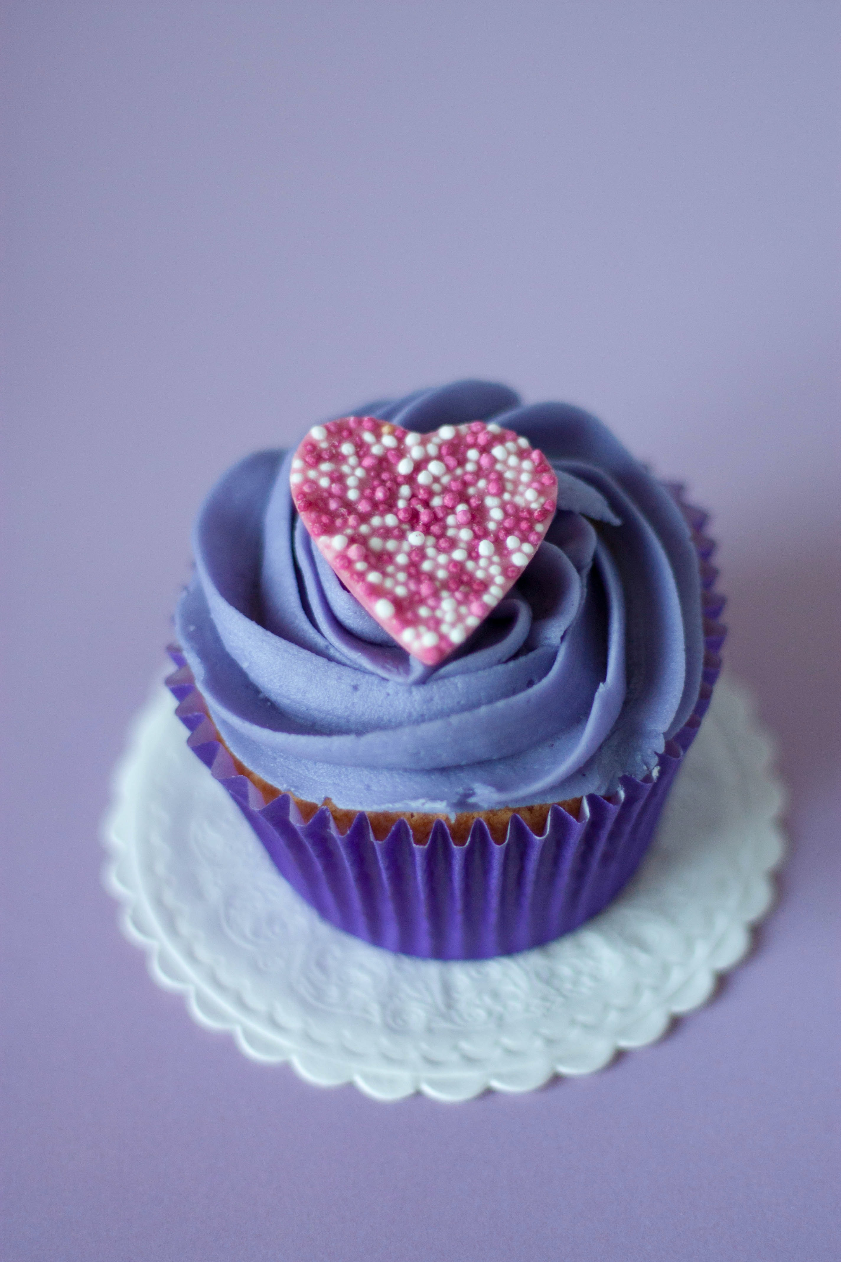 purple cupcake with heart frosting 183 free stock photo