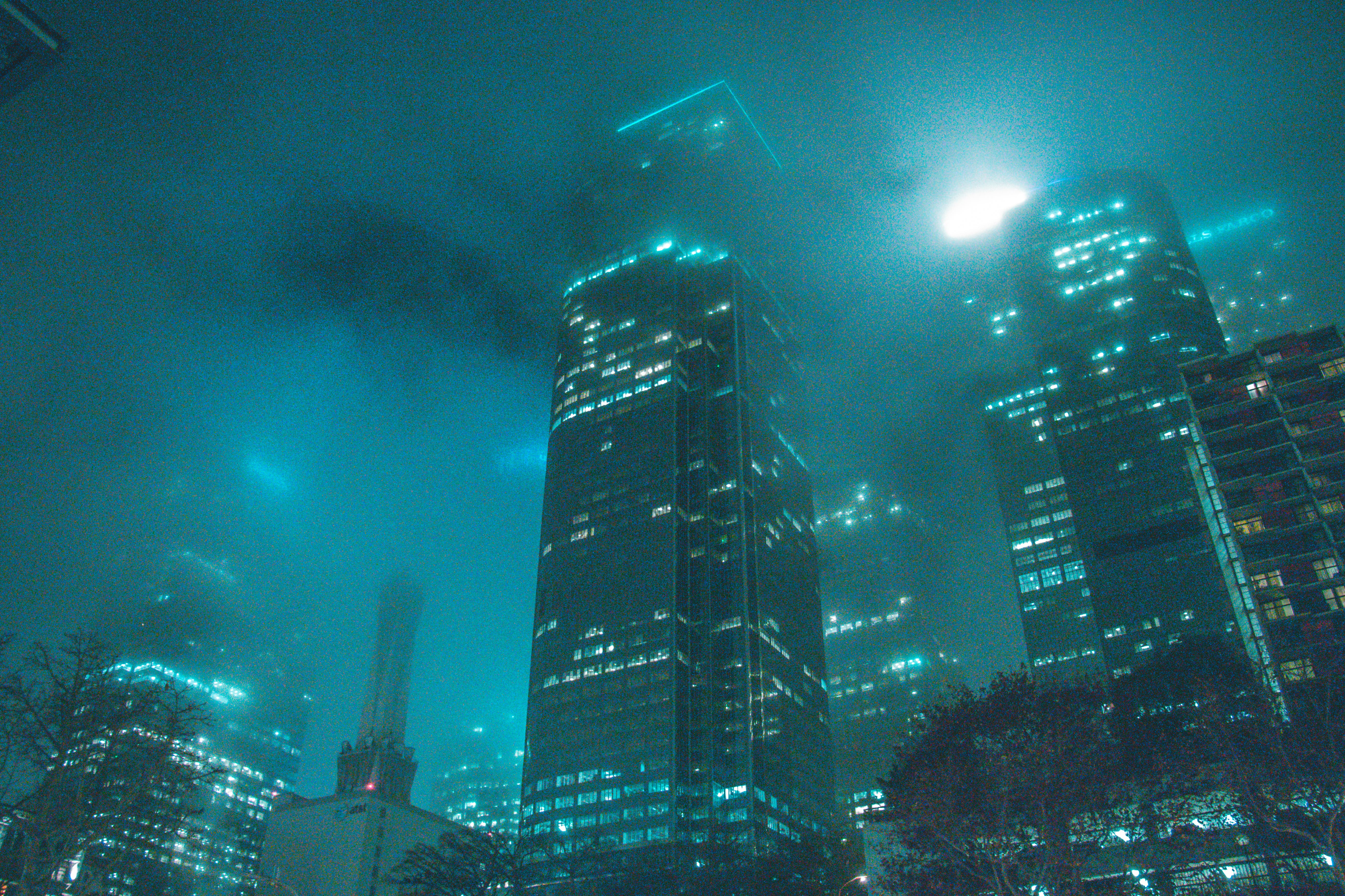 High-rise Building Beside Buildings during Night