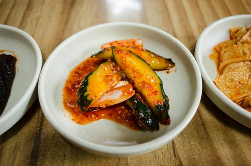 Spicy Vegetable on White Ceramic Plate