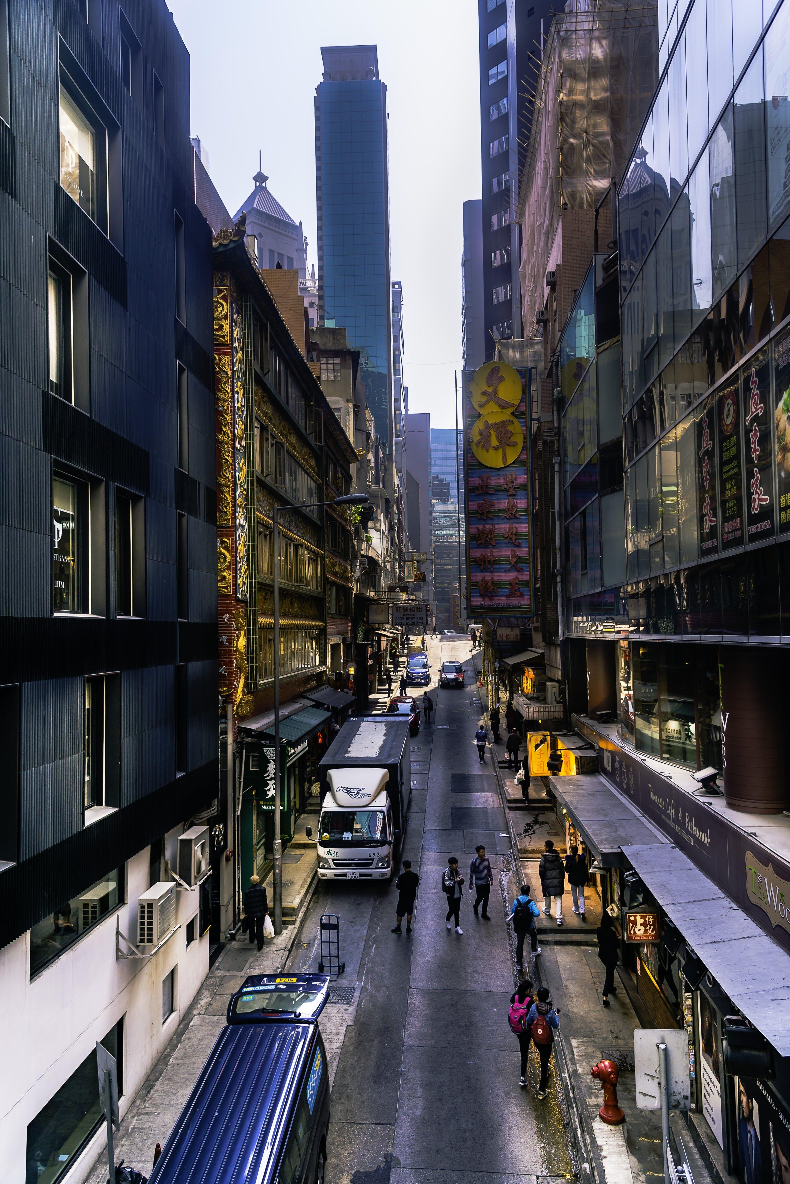 シティ, ダウンタウン, トラフィック, 乗り物の無料の写真素材