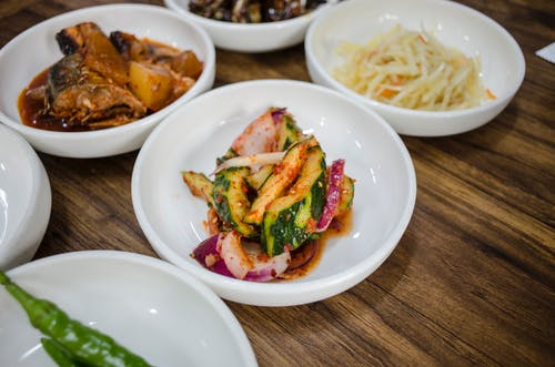 Healthy Dishes on a Wooden Table