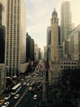 City Streets Between Sky Scrappers