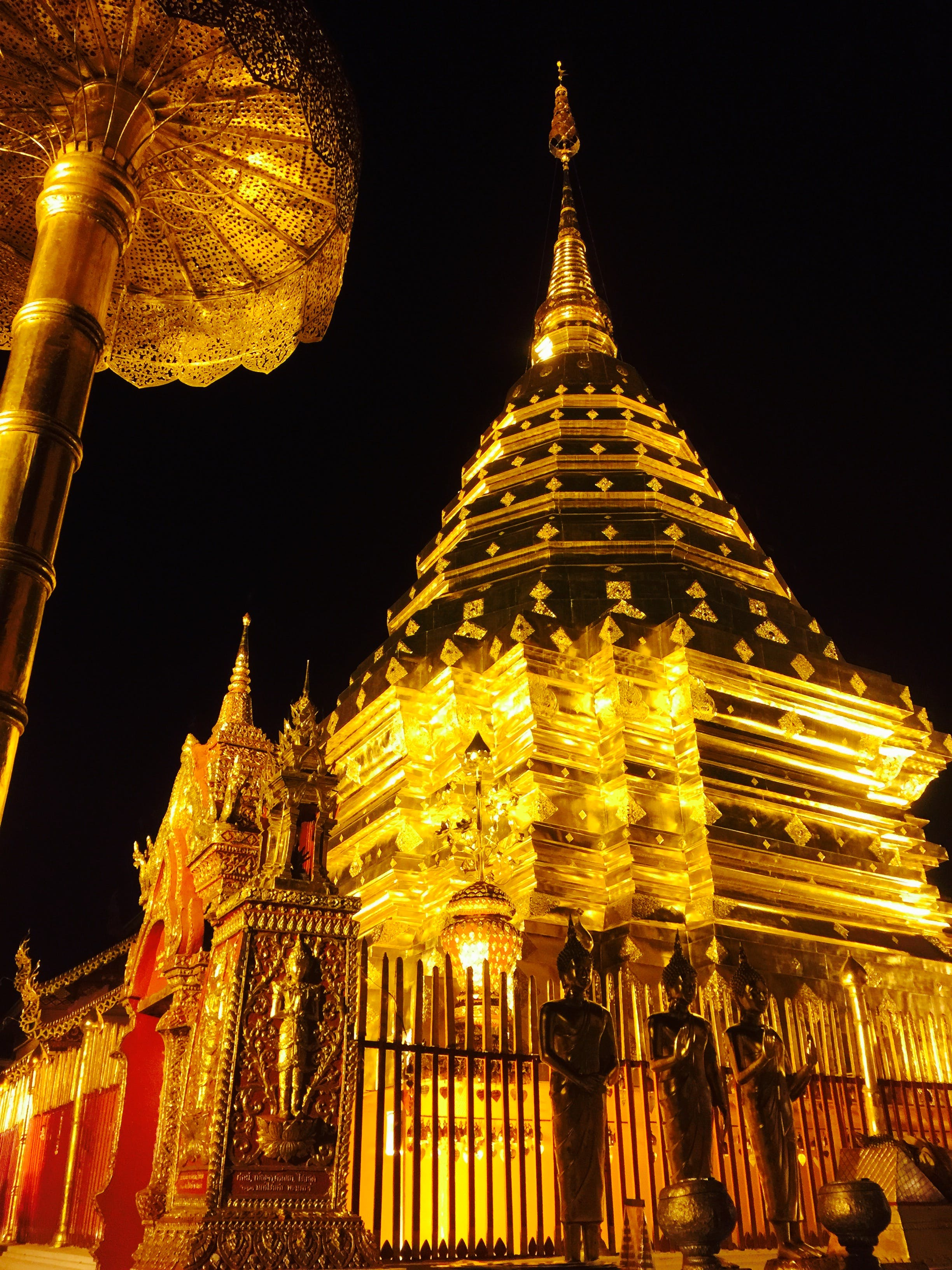 Low Angle View of Temple at Night