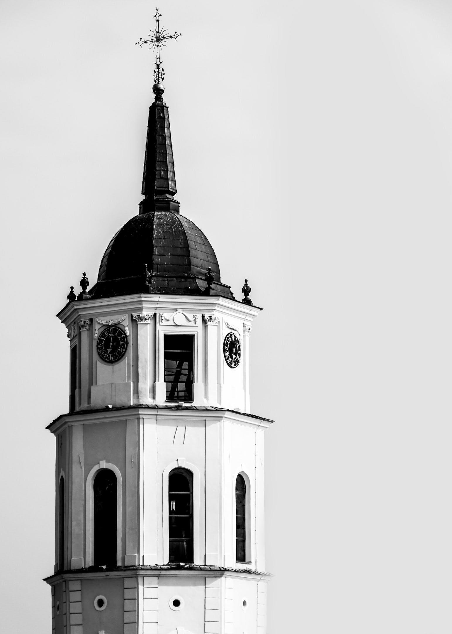 White Black Church Clock Tower