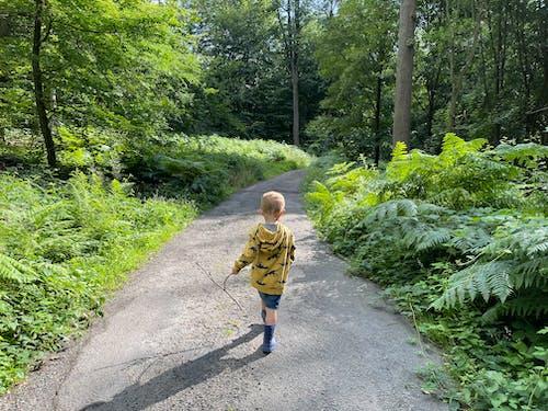 Boy in Yellow Jacket Walking in Forest Pathway