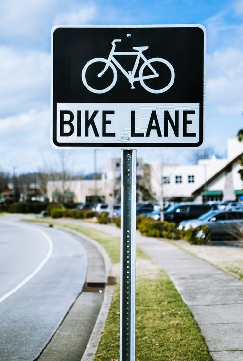 Black and White Bike Lane Signage