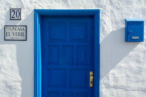 Free stock photo of blue, door, postbox