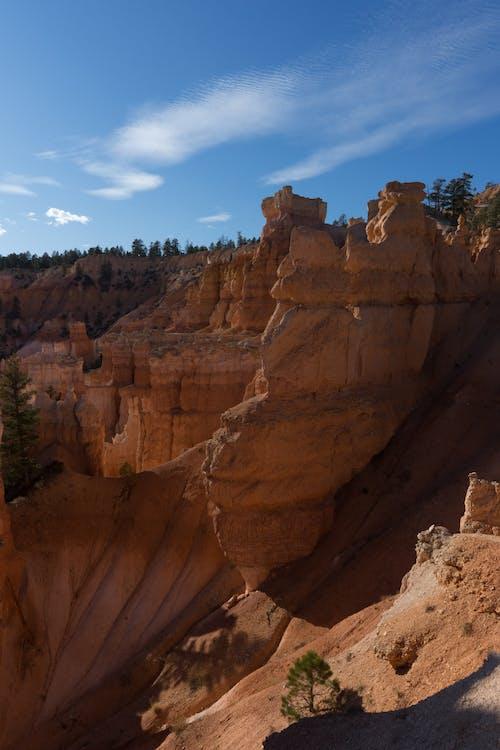 Brown Geological  Formation Under Blue Sky
