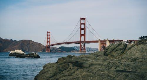 Green Rock Near Golden Gate Bridge San Francisco