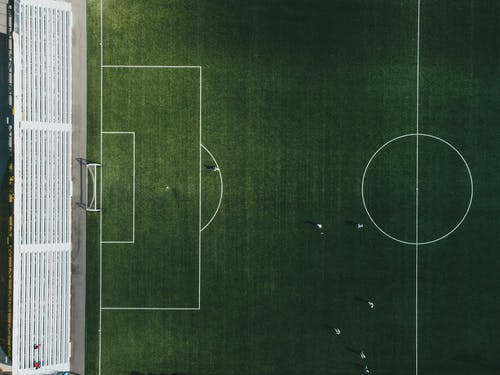 Birds Eye View of Soccer Players Playing on Field