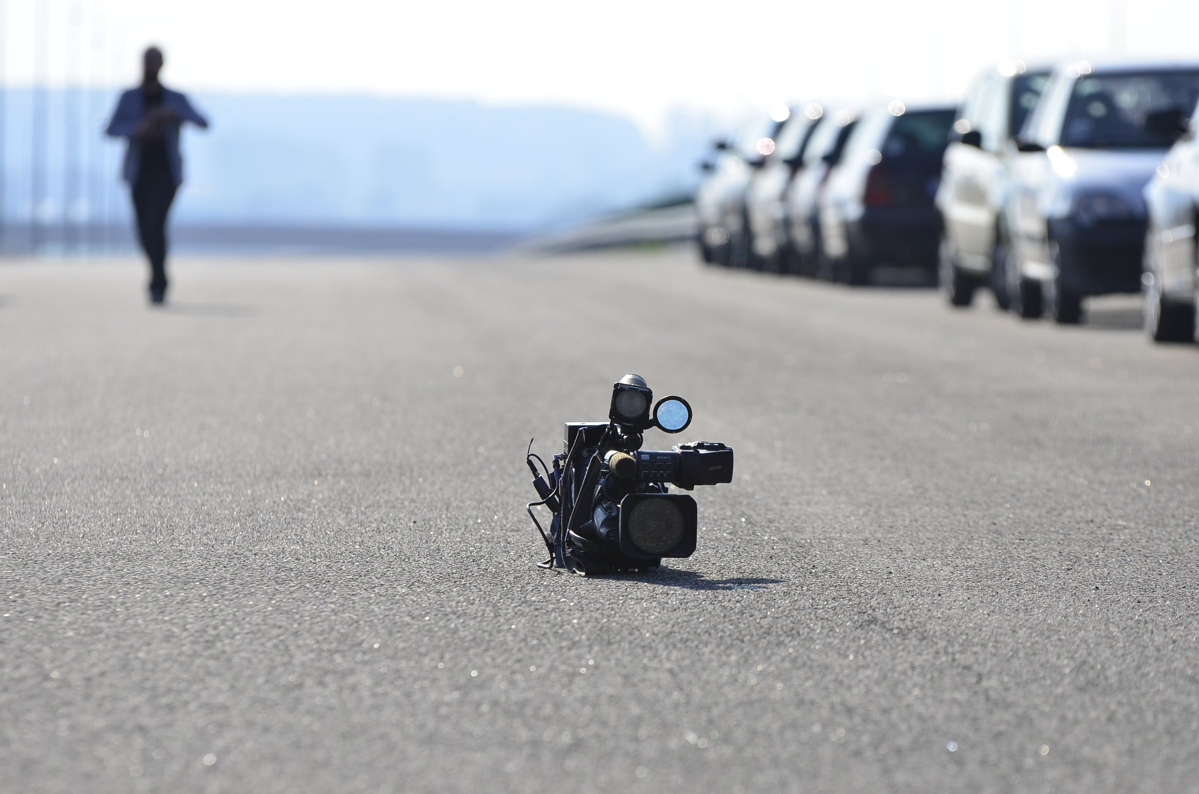 Video Camera on Asphalt Road