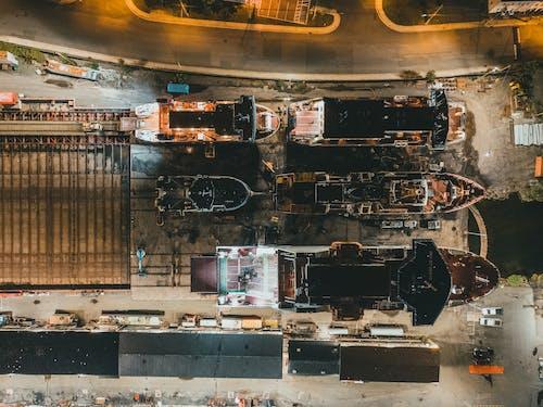 Aerial Shot of Watercrafts on Repair Dock