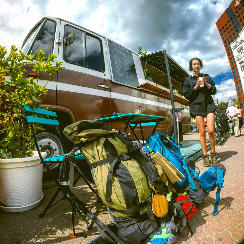 backpack, bus, camping