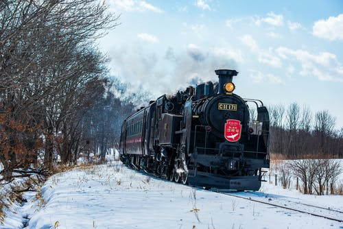Black Train on Rail Road