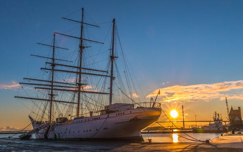 White Ship in Dock during Golden Hour
