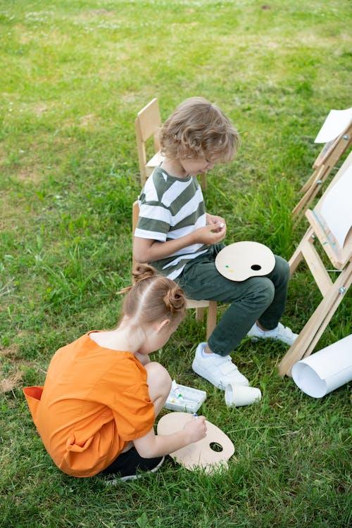 boş zaman, boyama, çocuklar içeren Ücretsiz stok fotoğraf
