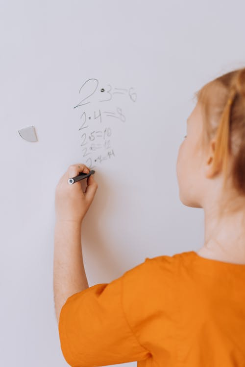 A Child Writing on a White Board
