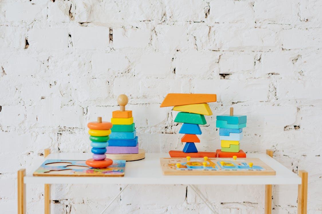 Multi Colored Wooden Table Decor
