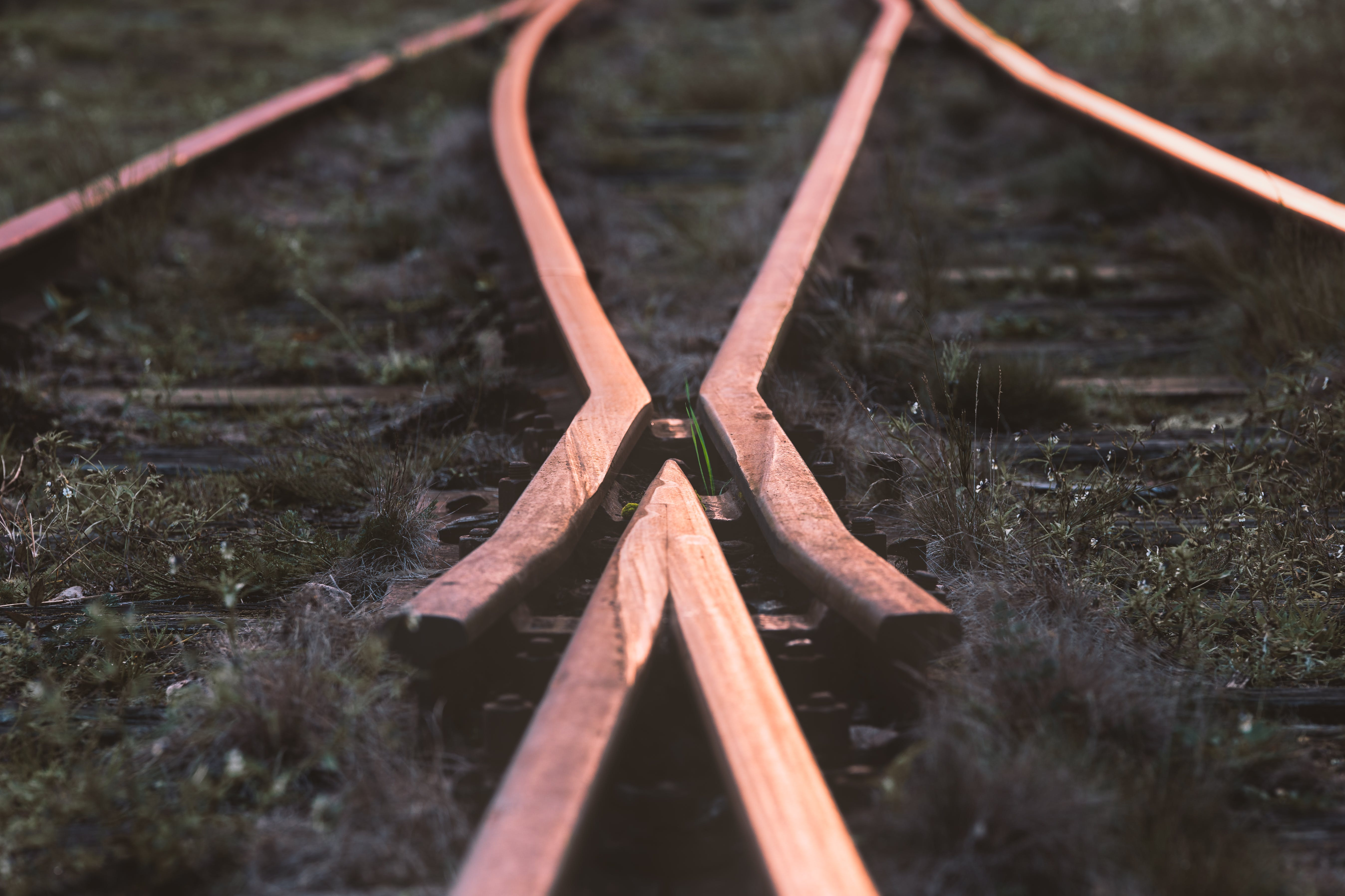 Selective-focus Photography of Train Rail