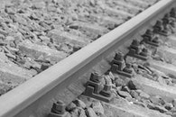 black-and-white, rails, close-up