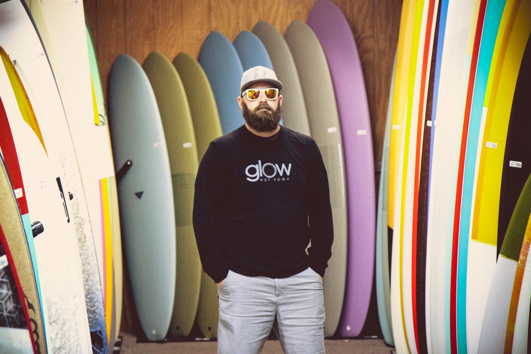 Man Wearing Black Glow-printed Sweatshirt