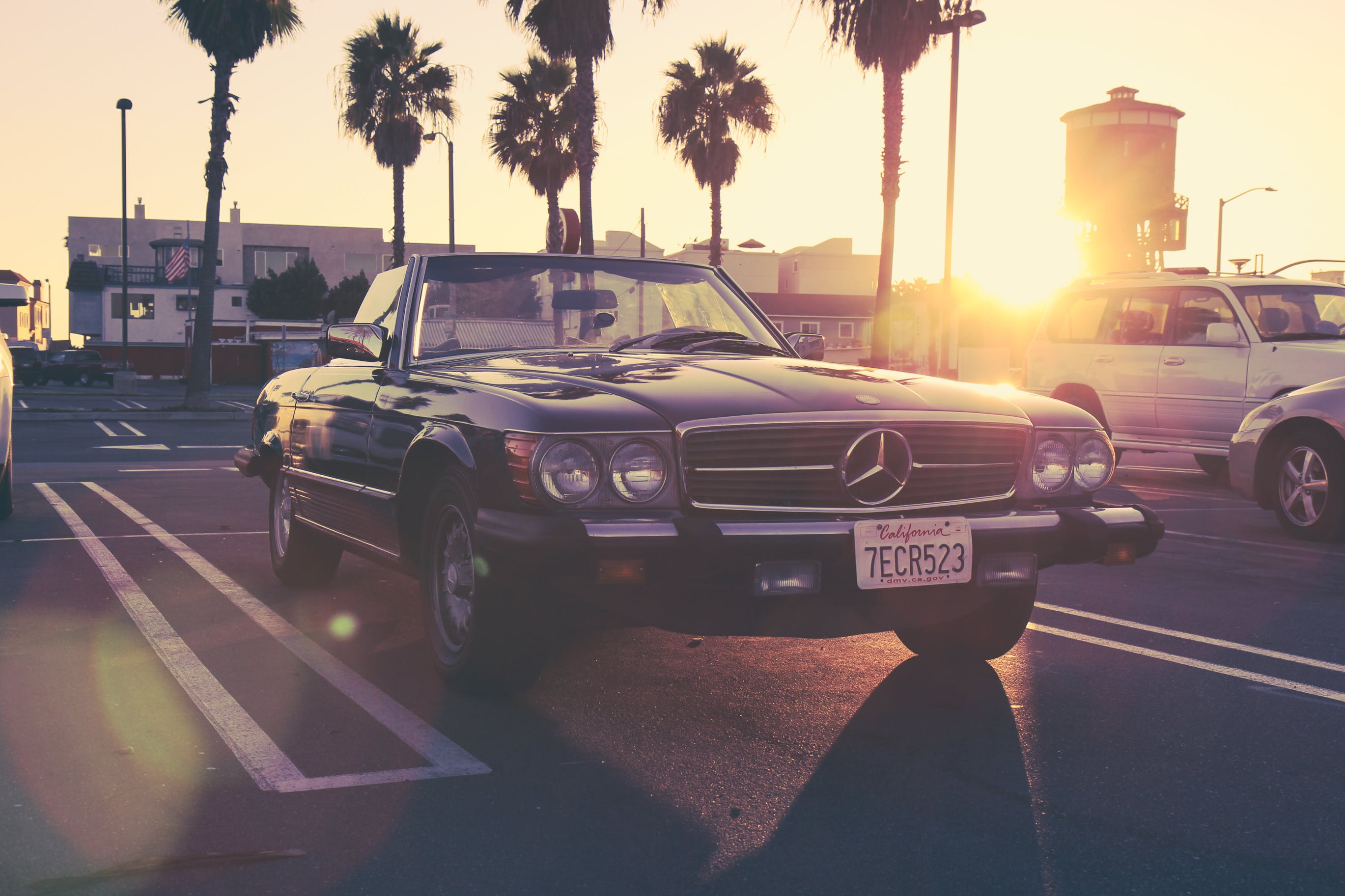 Black Mercedes-benz Car at the Parking Lot