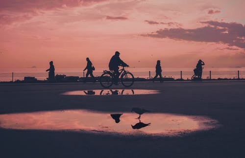People Riding Bicycle on Brown Sand during Sunset