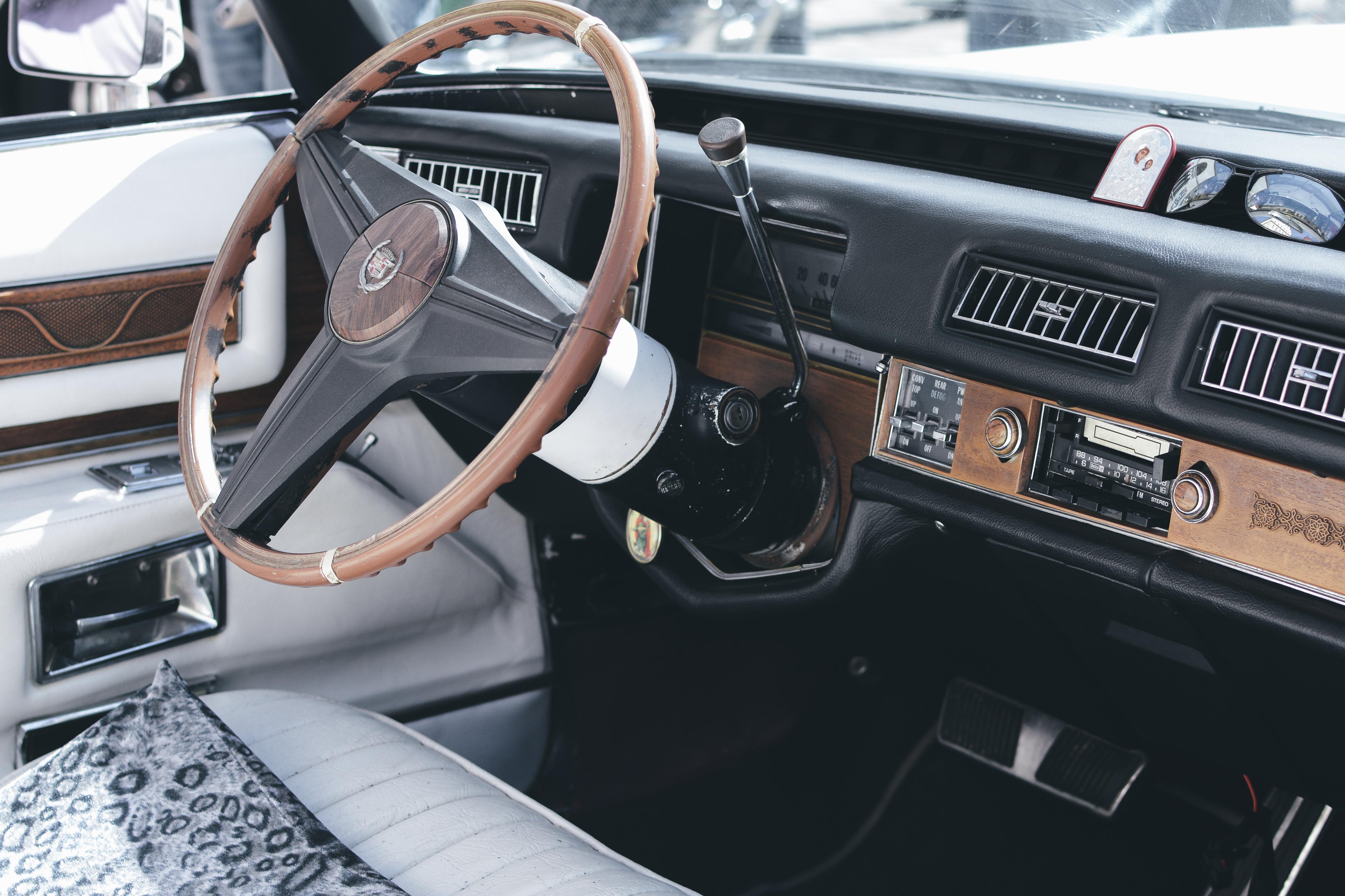 Brown and Black Car Steering Wheel