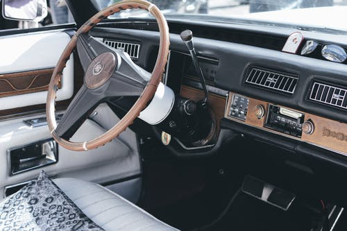 Brown and Black Car Steering Wheel