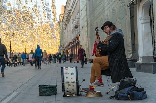 Základová fotografie zdarma na téma buben, chodník, hraní na kytaru