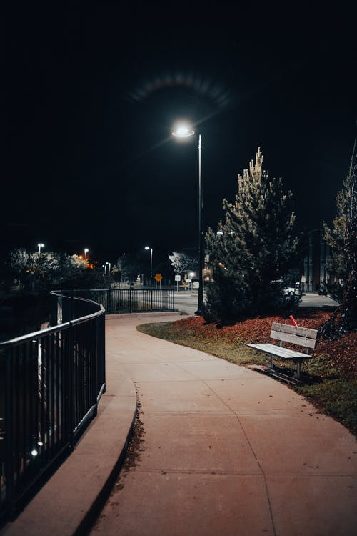 Foot Path with Railings in the Park During Night Time