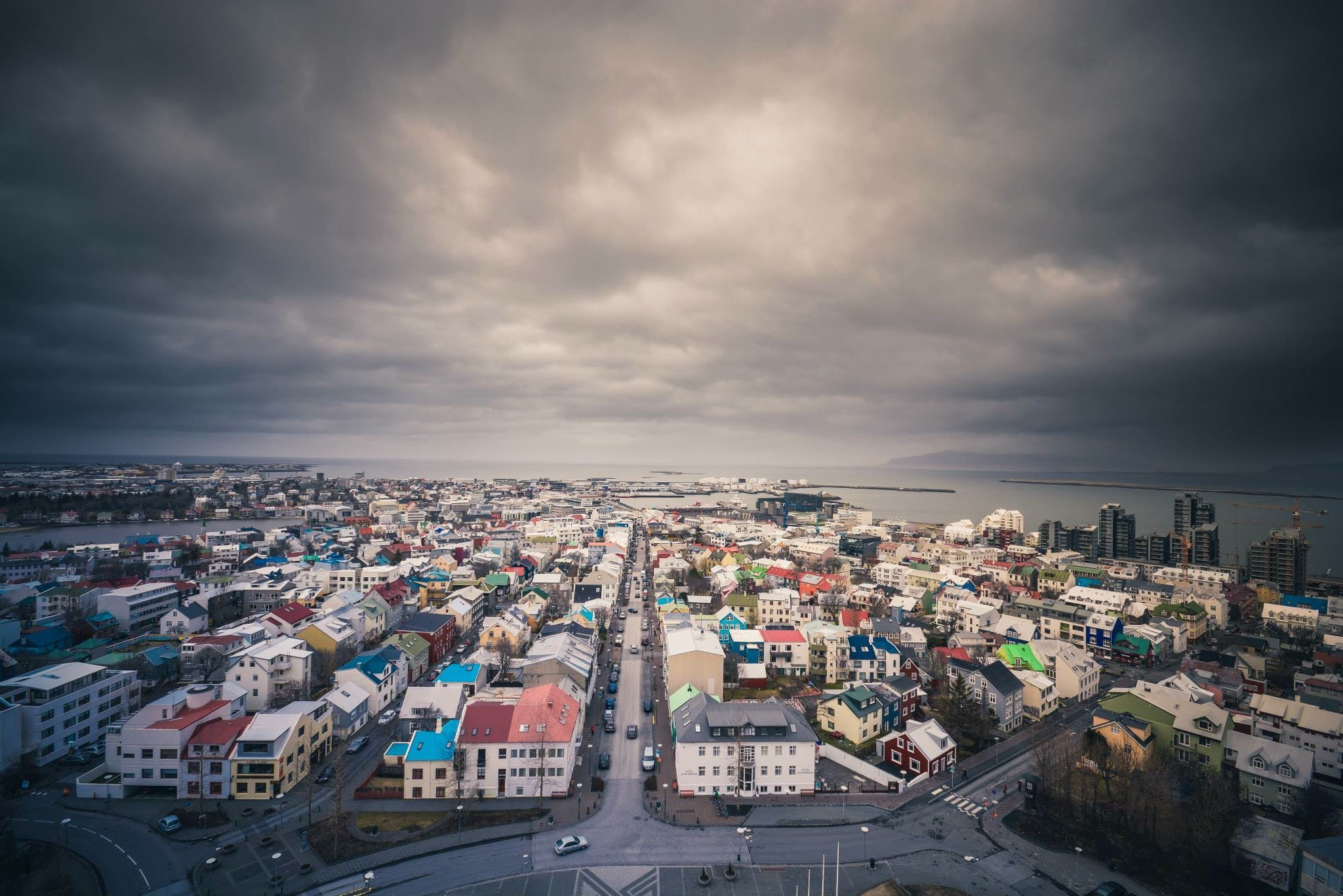 city, clouds, iceland