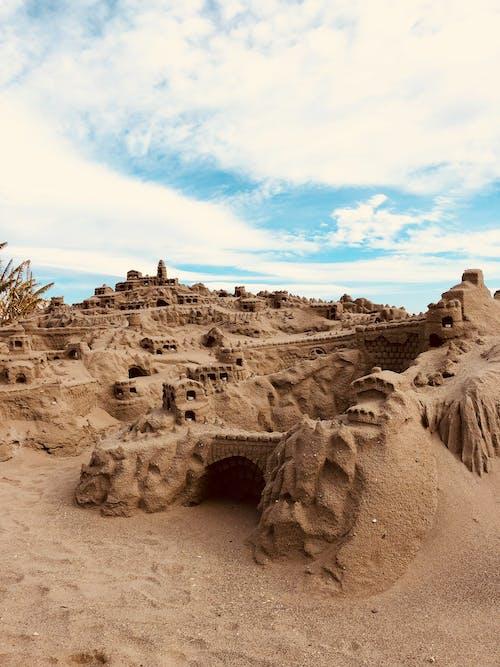 Imagine de stoc gratuită din albastru, castel de nisip, copilărie, faleză