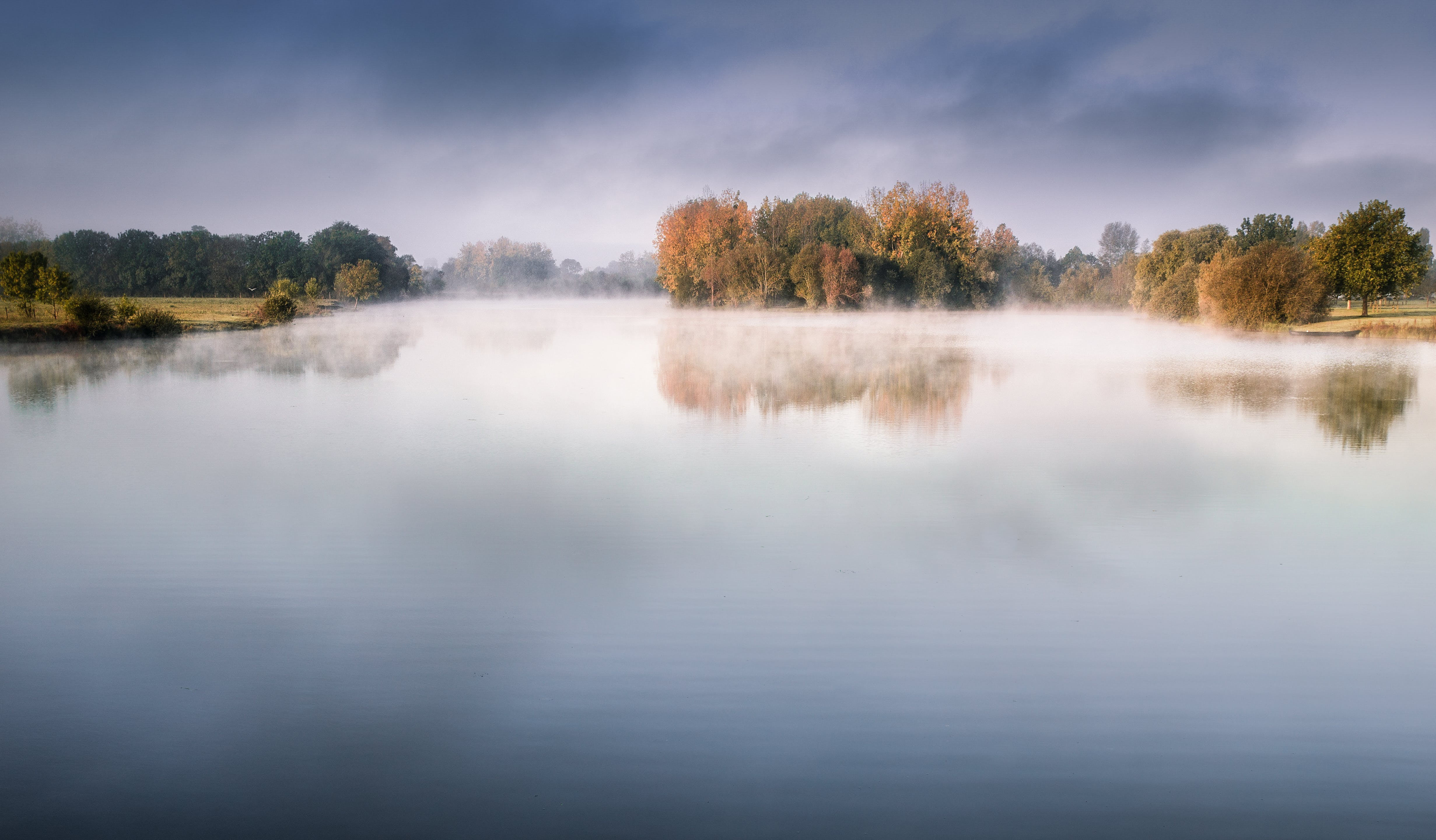 Lake With Fog Under Dark Blue Sky Photography