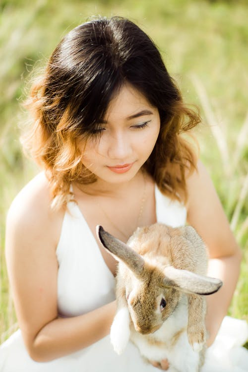 Woman in White Tank Top Holding Gray and White Rabbit