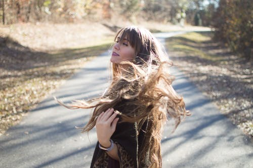 Free stock photo of brown hair, dark hair, hair flip