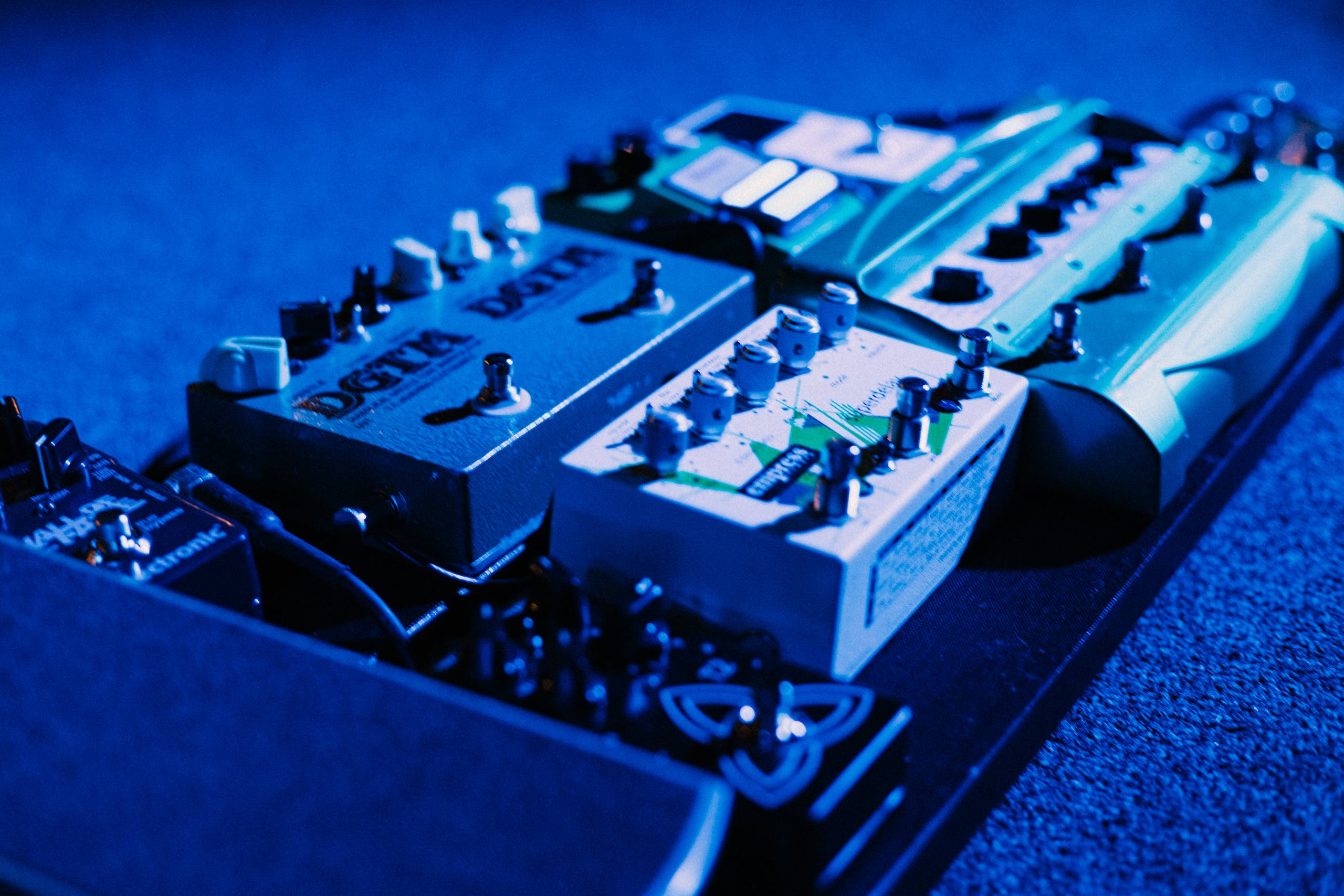 Free stock photo of concert, guitar, pedals, stage