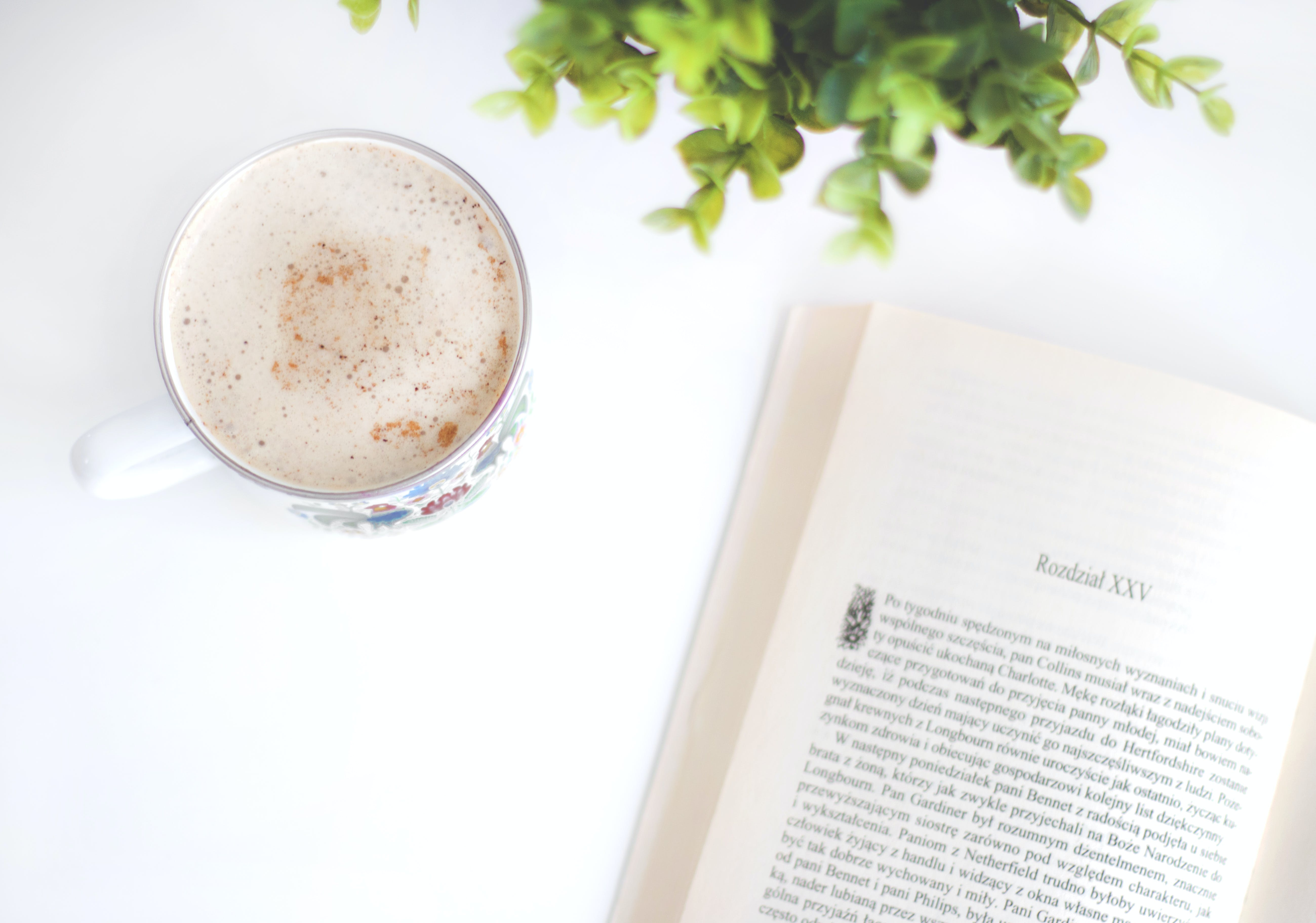 Flatlay Photography of Book and Cup