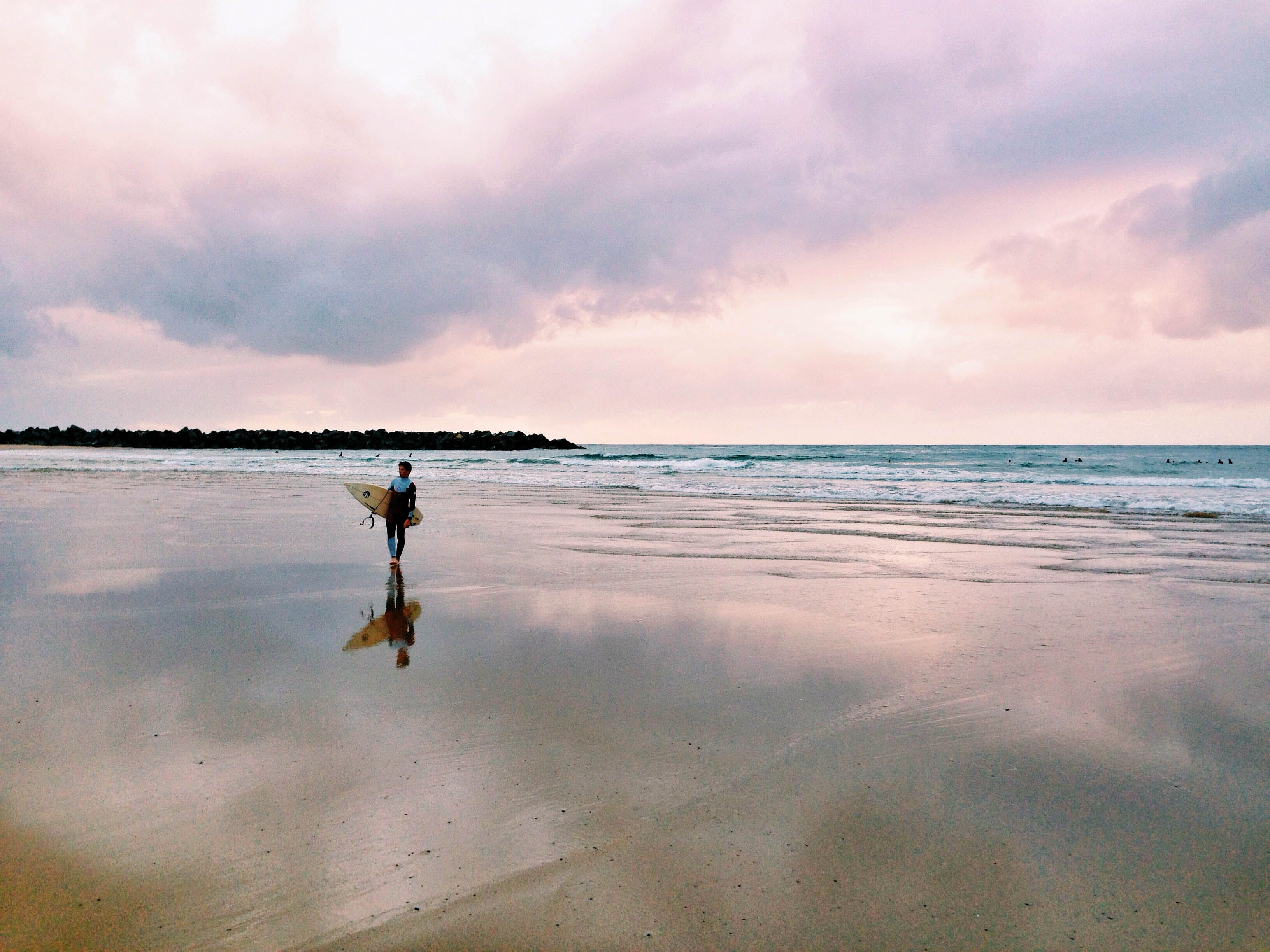 Free stock photo of sea, person, beach, surfing