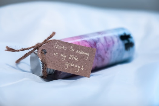 Brown Thank You Card on Pink and Blue Small Bottle
