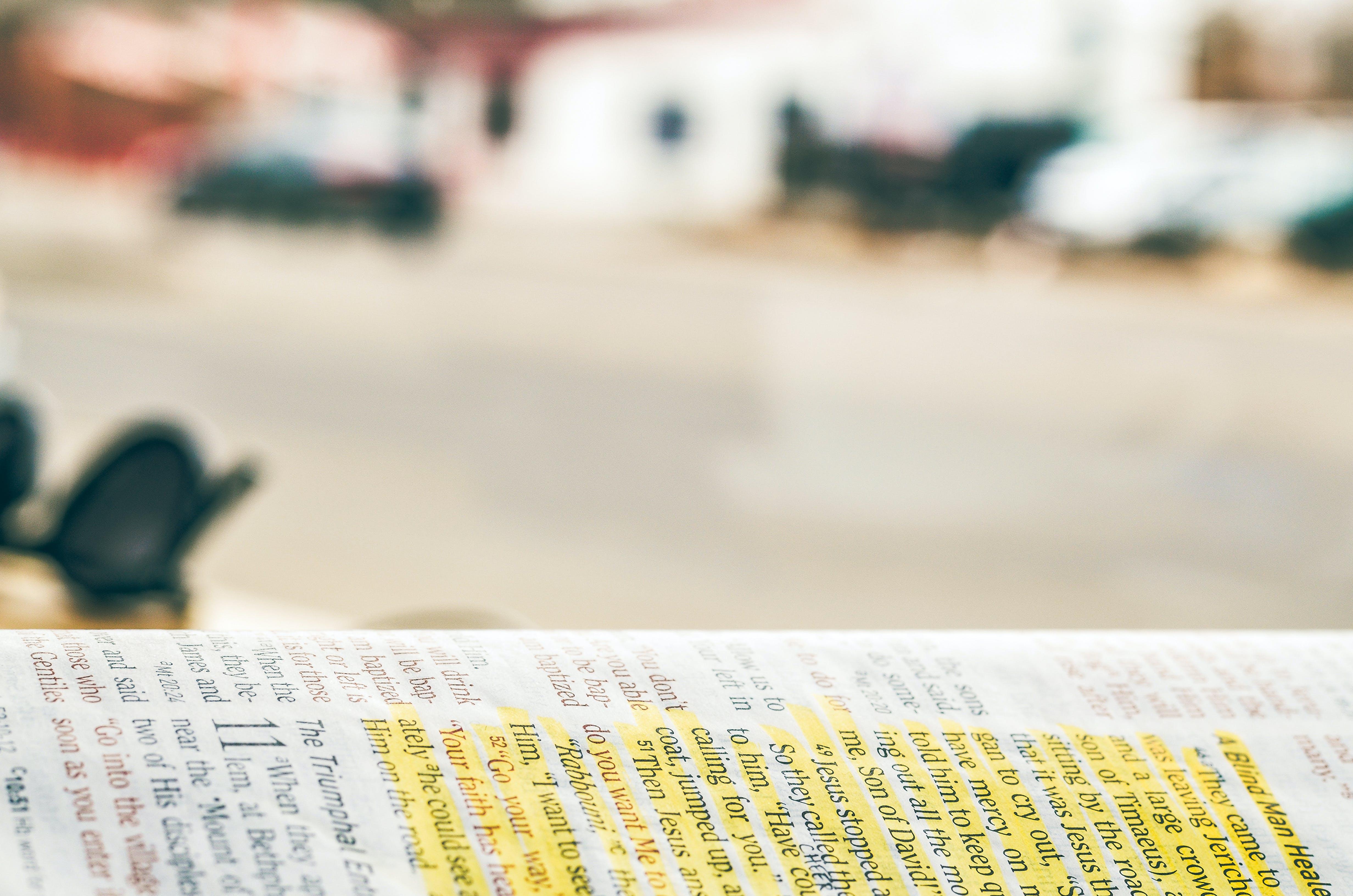 Biblia, billetes, composición