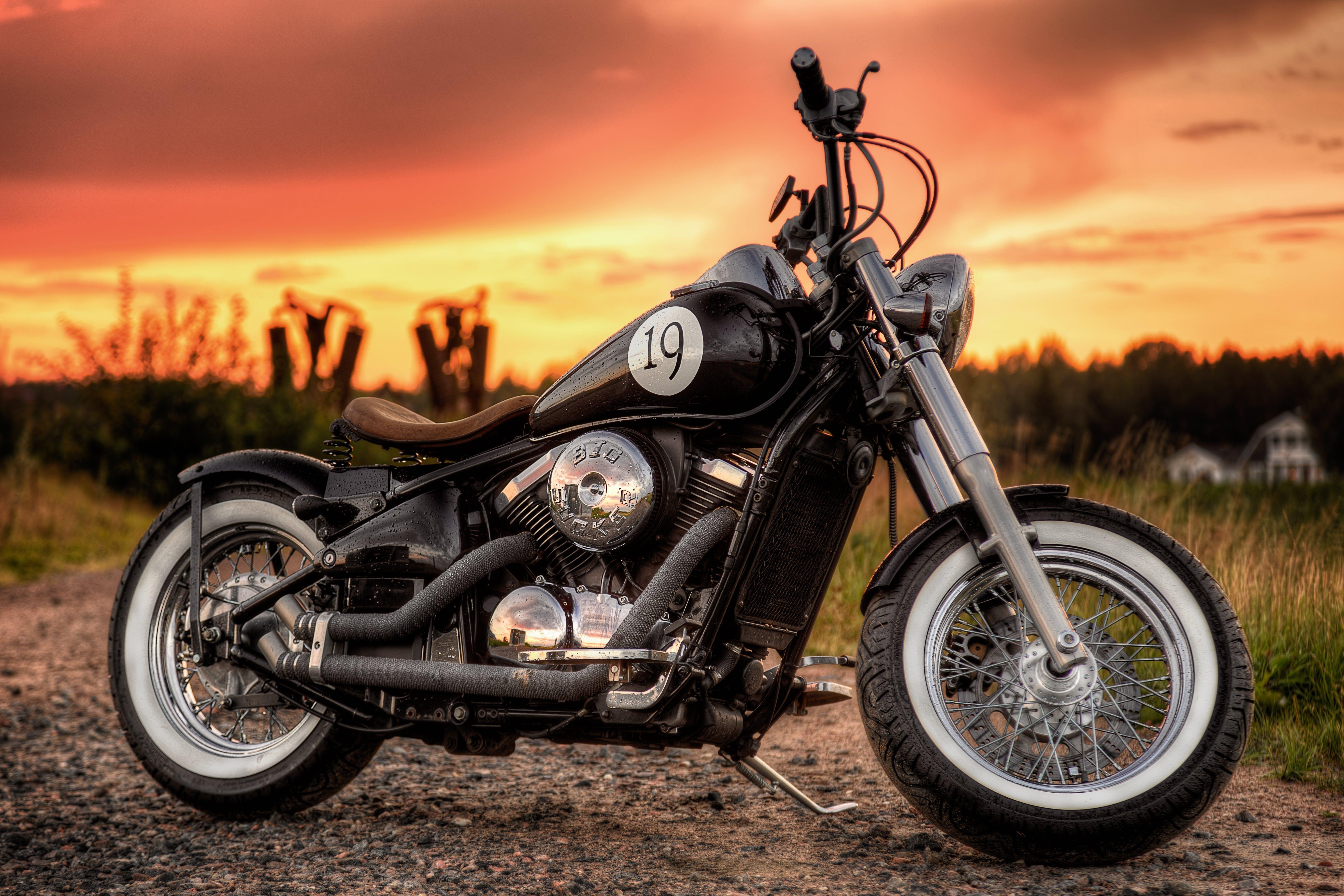 Free stock photo of bobber, kawasaki, motorcycle, sunset