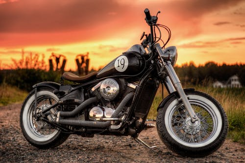 Free stock photo of bobber, kawasaki, motorcycle, sunset