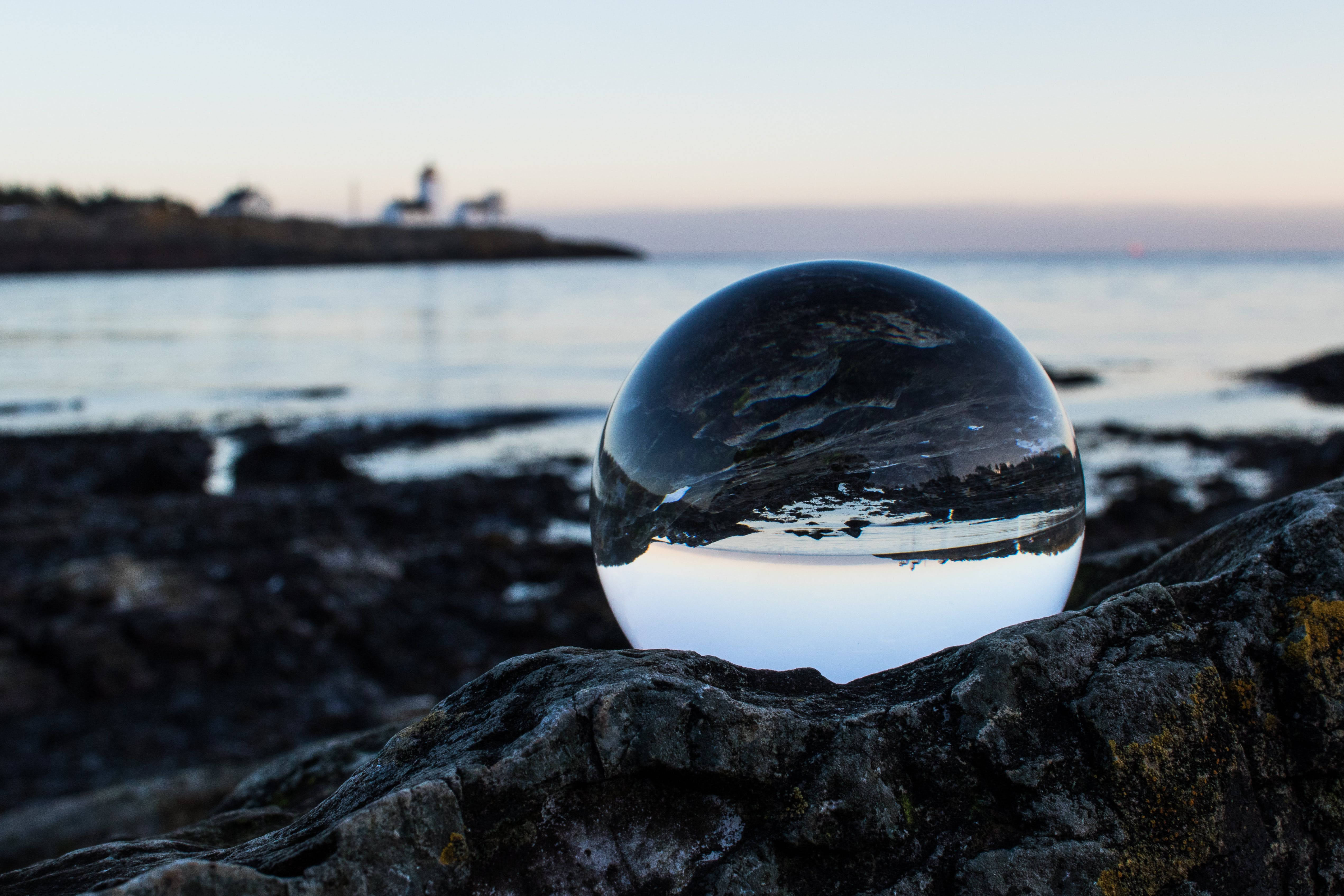 Clear Ball on Gray Rock