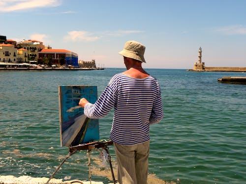 Darmowe zdjęcie z galerii z artysta, kanwa, latarnia morska, malarz