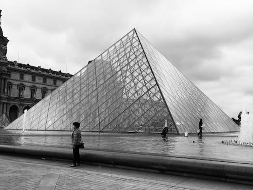 Free stock photo of architecture, black and white, louvre, monochrome