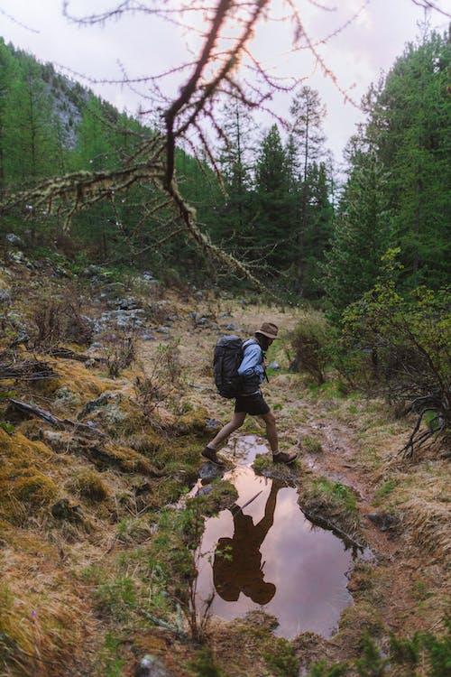 Man Hiking Alone